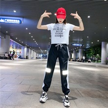 Плюс размер двух частей костюмы для женщин Повседневная футболка Харадзюку спортивный костюм с коротким рукавом топы черный светоотражающие хип-хоп брюки