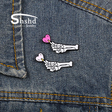 Shshd Halloween Skeleton Tangan Bros Cute Lollipop Sweet Heart Enamel Gothic Tulang Kerangka Pasangan Kerah Pin Lencana Perhiasan(China)