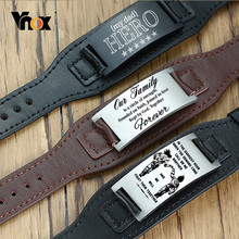 Vnox Freies Personalisieren Männer Armbänder Aus Echtem Leder Armband mit Edelstahl ID Bar Custom Herren Armreif
