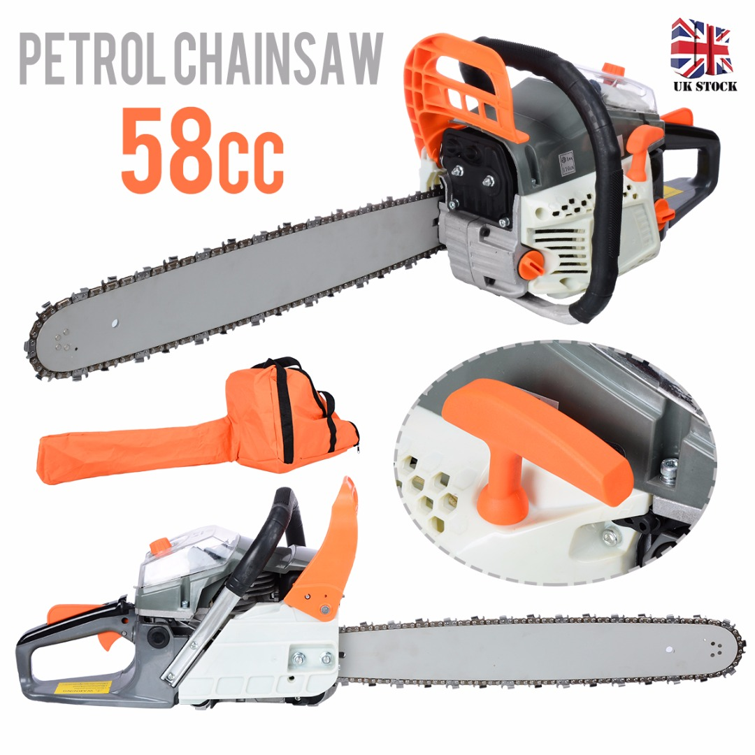 "Professional 20"" Petrol Chainsaw 58cc High-Powered Gas Gasoline Petrol Chain Saw Kit Woodworking Power Tool"