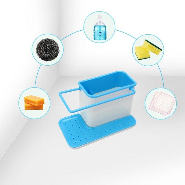 Storage Shelf Sponge Holder Draining Sink Box Kitchen Organizer Draining Rack Dish Storage Rack Stands Tidy Utensils Towel Rack 4
