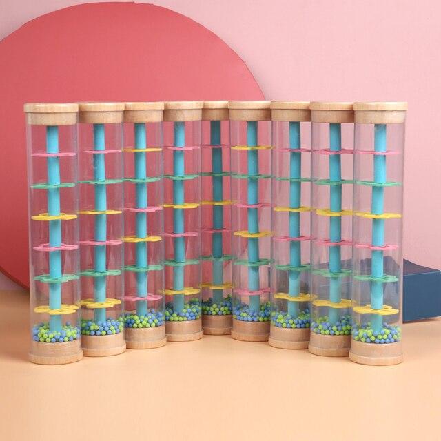 Montessori Raindrop zabawka wydająca dźwięki Instrument plastikowa tęcza klepsydra deszcz maker deszcz zabawka na kijku zabawki edukacyjne dla dzieci