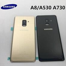 Orijinal yeni SAMSUNG Galaxy A8 A530 A530F A8 + artı A730 arka cam pil kapağı arka kapı konut Case arka cam kapak
