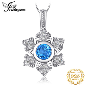 Image 1 - JewelryPalace Snowflake 1.1ct Genuine Blue Topaz Pendant 925 Sterling Silver Pendant Gift For Women Not Contain Chain 2018 Hot
