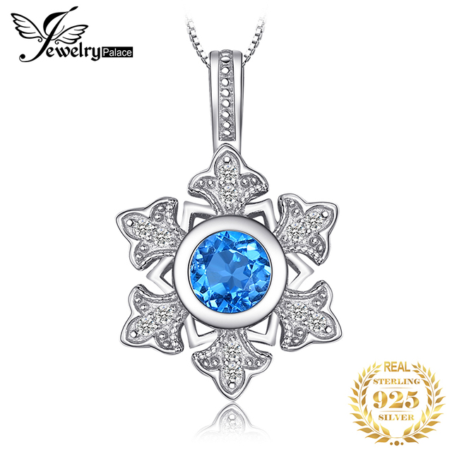 JewelryPalace Snowflake 1.1ct Genuine Blue Topaz Pendant 925 Sterling Silver Pendant Gift For Women Not Contain Chain 2018 Hot