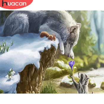 HUACAN DIY Painting By Number Wolf Drawing On Canvas Hand Painted Paintings Art Gift Pictures By Numbers Animal Kits Home Decor