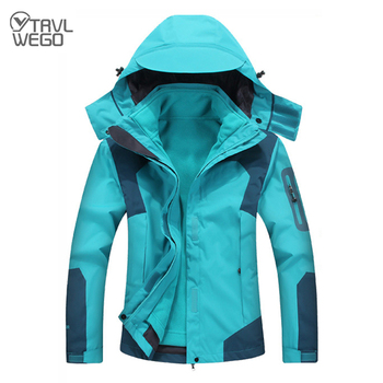 TRVLWEGO Outdoor Hiking Trekking Hunting Couple Rain Jacket Men Women Waterproof Windbreaker Long Coat&Liner Winter Ski 3 In 1