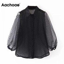 Collar Shirt Organza Blouse Aachoae-Dot Black See-Through Chic-Top Lantren-Sleeve Blusas