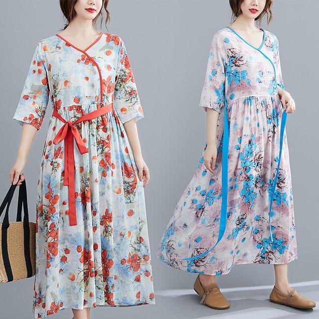 Half Sleeve Loose Summer Autumn Dress V-neck Sashes High Waist Women Dress Print Floral Vintage Dress Female Casual Midi Dress 2