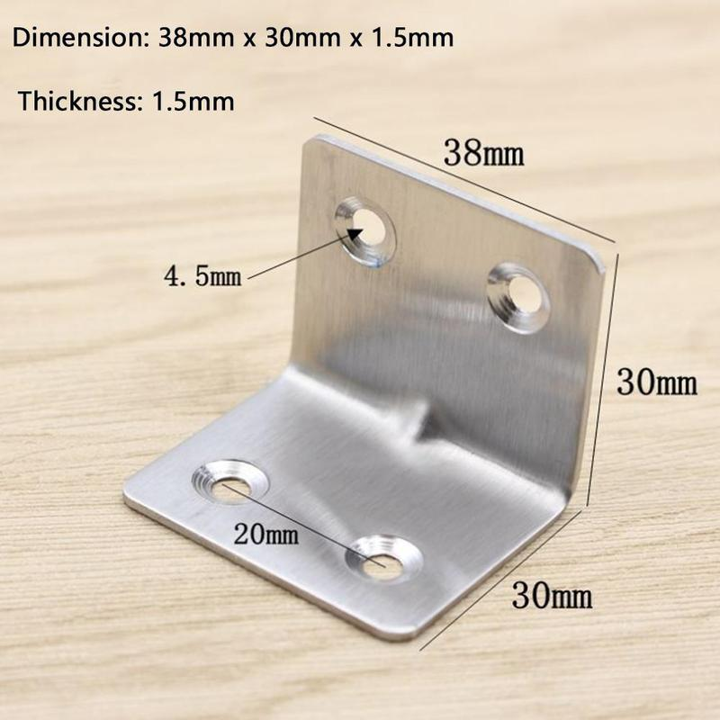 1.5mm Four-hole Stainless Steel Corner Code Right Angle Fixed Bracket Angle Iron Furniture Connection Hardware