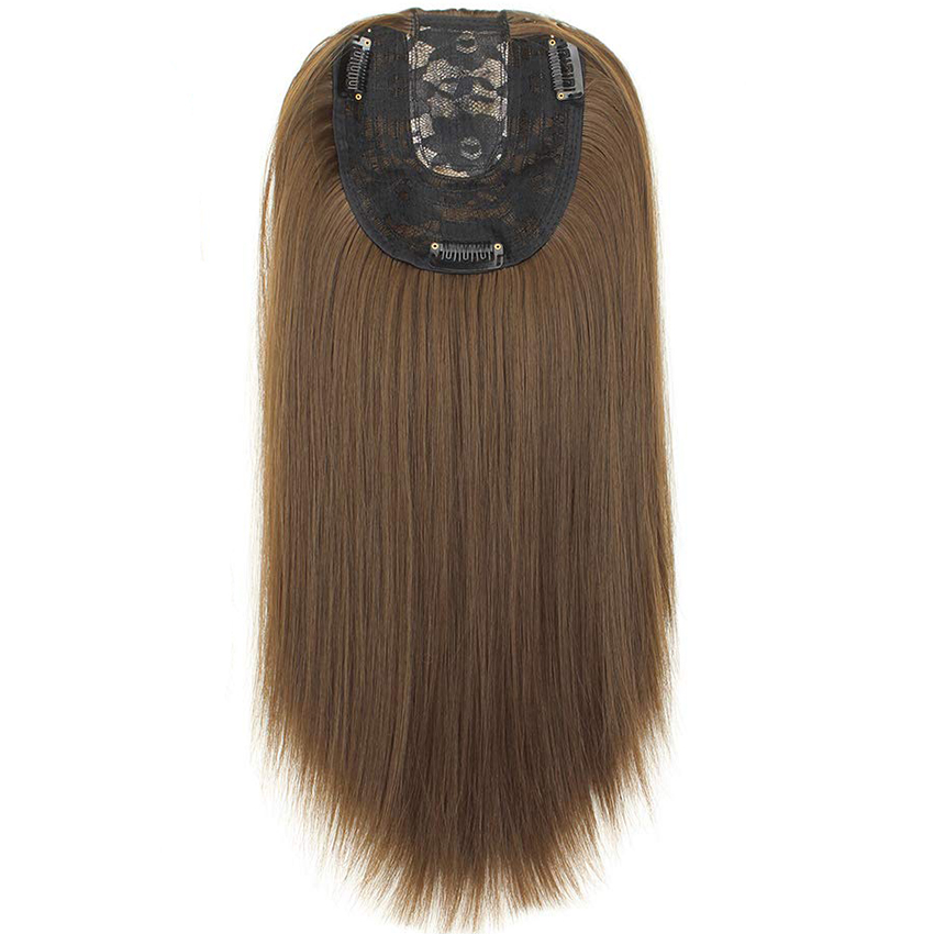 Women Hair Topper Piece Synthetic Hair 3 Clips In One Piece Hair Extension Long Straight High Temperature Fiber