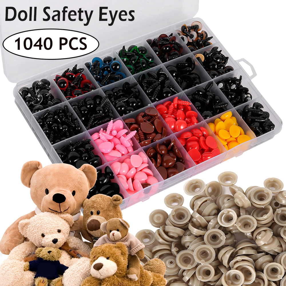 1040PCS 6-14mm Plastic Safety Eyes Noses Boxes For Teddy Bear Doll Animal Toy Crafts Colorful Dolls Accessories
