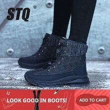 STQ botas de tobillo de felpa para mujer botas de nieve cálidas zapatos de mujer Zapatillas de invierno botas cómodas mujeres cuñas botas negras 930