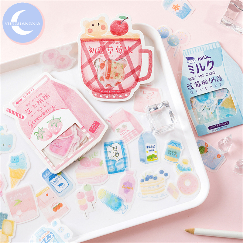 YUEGUANGXIA 50pcs/pack Decilious Snack Cheese Peach Blue Strawberry Kawaii Stickers Bullet Journal Deco Stickers 8 Designs