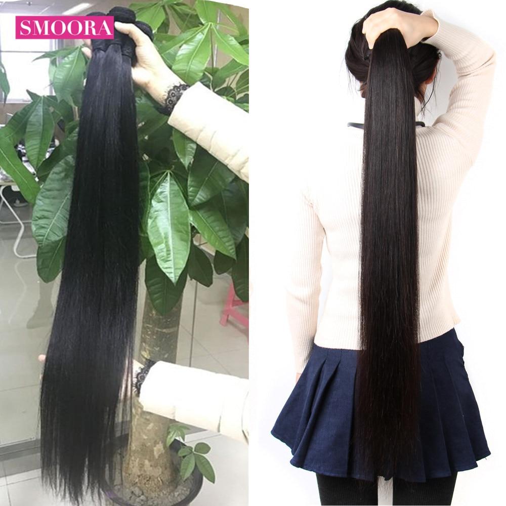 Человеческие волосы SMOORA, пряди для наращивания, перуанские прямые волосы, пряди 1/3/4, пряди по сделке, Реми длиной 28, 30, 32, 34, 36, 38, 40 дюймов