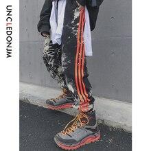 UNCLEDONJM Mens Street Patchwork Side Stripe Pants