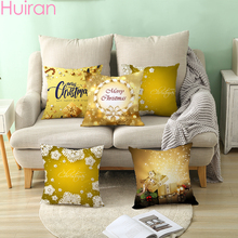 HUIRAN Merry Christmas Gold Cushion Cover Decorations for Home 2019 Xmas Decor Chritmas Gift Happy New Year 2020 Natal