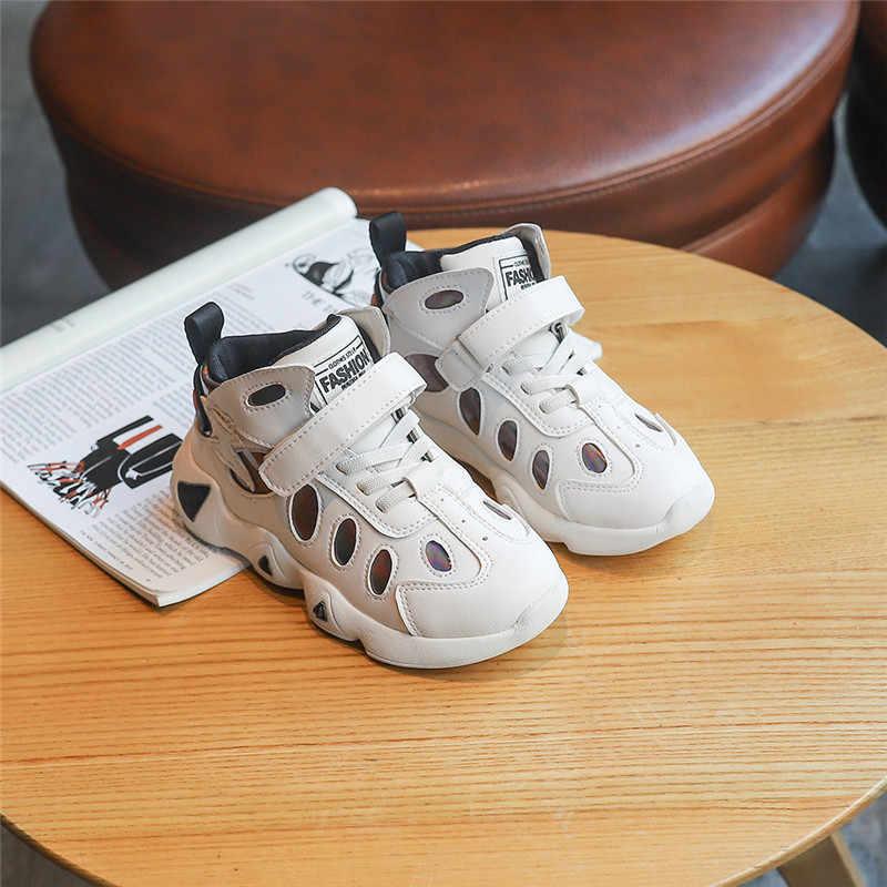 Nieuwe Ontwerp Kinderen Loopschoenen Pure Kleur Jongens Meisjes Sneakers Zwart Wit Sport Schoenen Herfst Casual Student Schoen