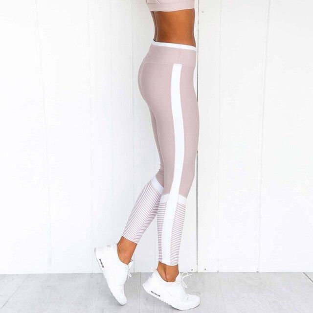 1 Set Women Pink Solid Stripe Pink Workout Set Push up Leggings Workout Fitness Active Pants Girls Sports Suit Short Print 5