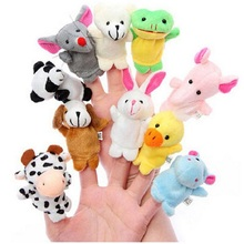10PCS Cartoon Animal Finger Puppets with Feet Storytelling Props Cute Plush Toys Double Fabric Child Baby Favor Dolls Boys Girls