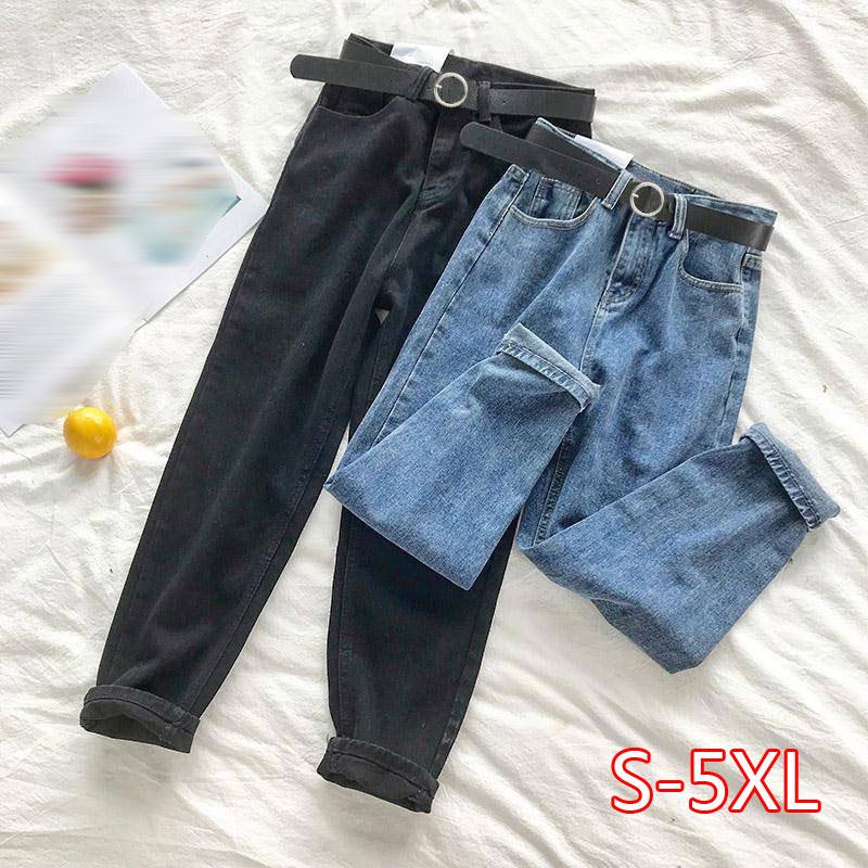 BF Korean High Waist Jeans Women Solid Belt Harem Pants Loose Casual New High Street Denim Trousers Pantalon Femme 2020
