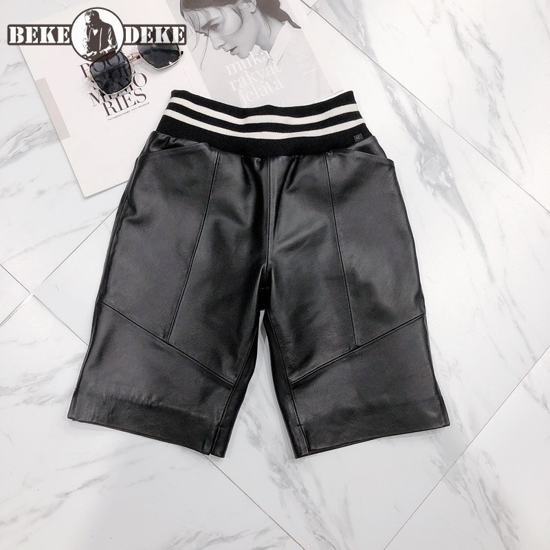 Genuine Leather Shorts Women Striped Elastic Waist Knee Length Trousers Fashion Patchwork Straight Shorts New Casual Sweatpants
