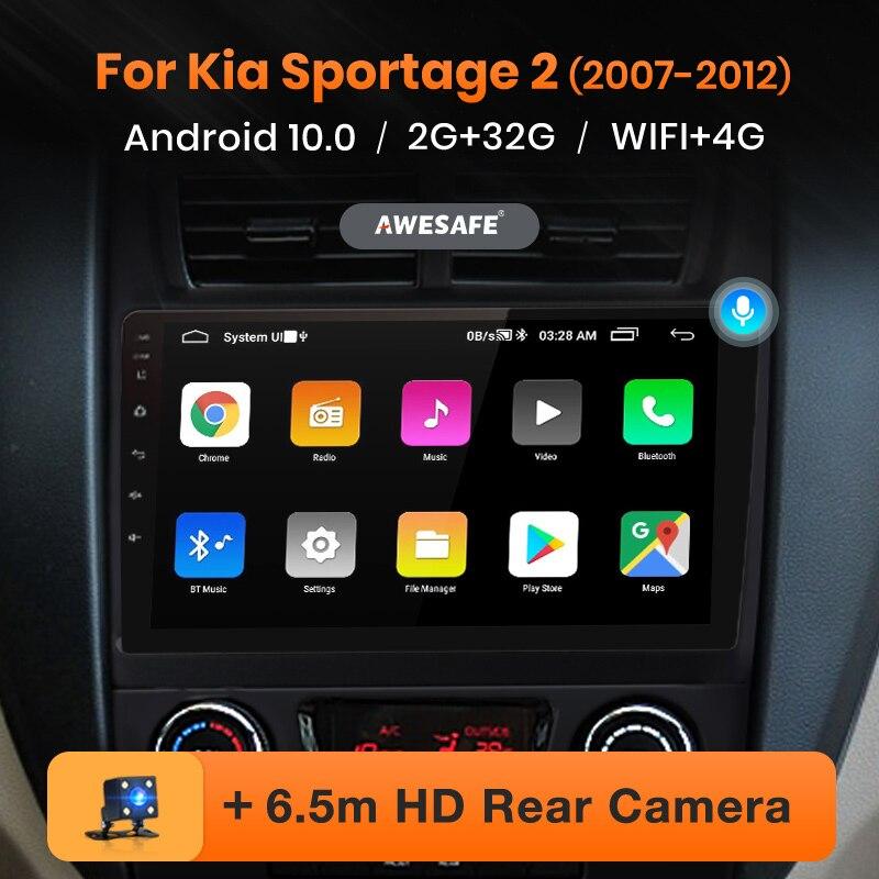 Автомагнитола AWESAFE PX9 для Kia Sportage 2 2007-2009, мультимедийный видеоплеер с GPS-навигацией, 2 din, DVD, Android 10
