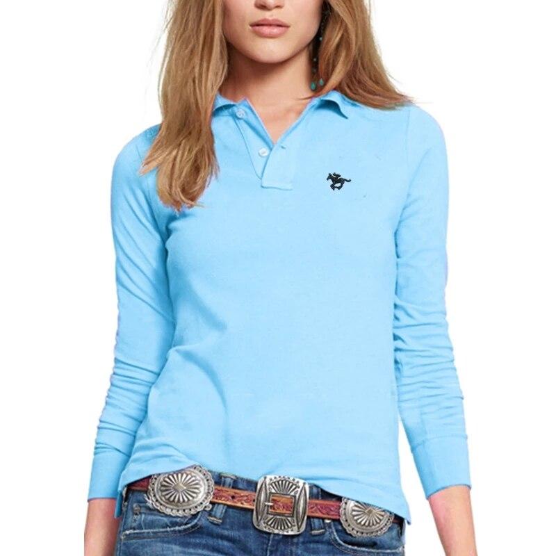 High Quality Autumn Women's Long-Sleeved Polos Shirt 100% Cotton Casual Women's Lapel Horse Embroidery Women's Polo Shirt S-4XL