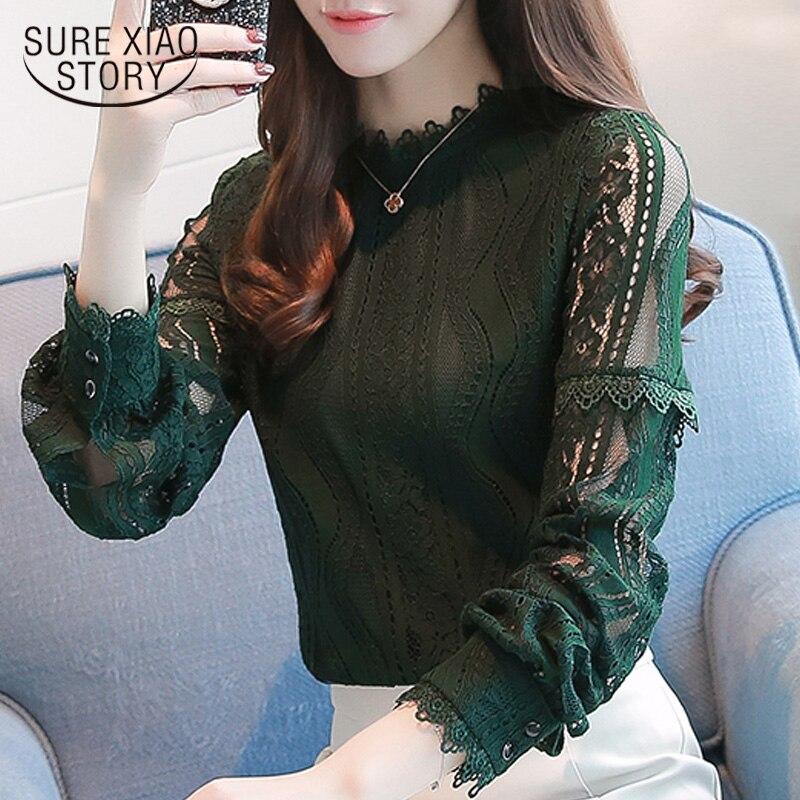 2019 Autumn New Plus Size Lace Women Blouse  Hollow Semi Turtleneck Turtleneck Long Sleeved Women Shirt Top Slim 8901 30