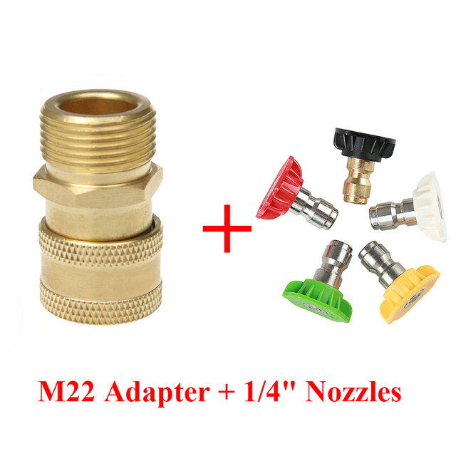 """High Pressure Washer Brass Connector Adapter M22 Male 1/4"""" female Car Washer Quick Connection Adapter with 5 Car Washing Nozzles"""