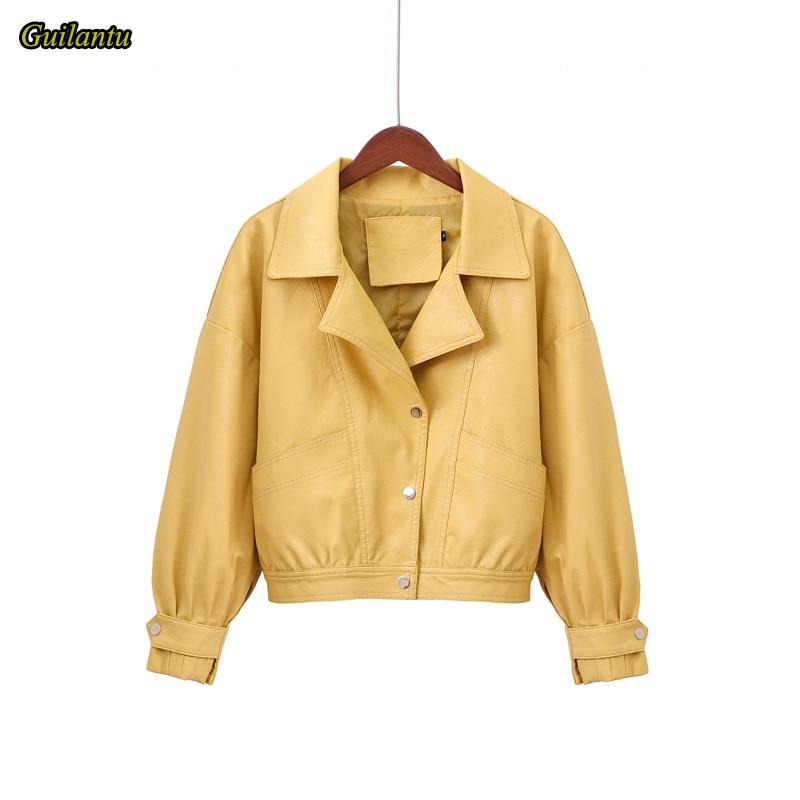 Guilantu 2020 Leather Jacket Women Moto & Biker Coat Spring Autumn Turn-down Collar Single Breasted Big Size Leather Coats