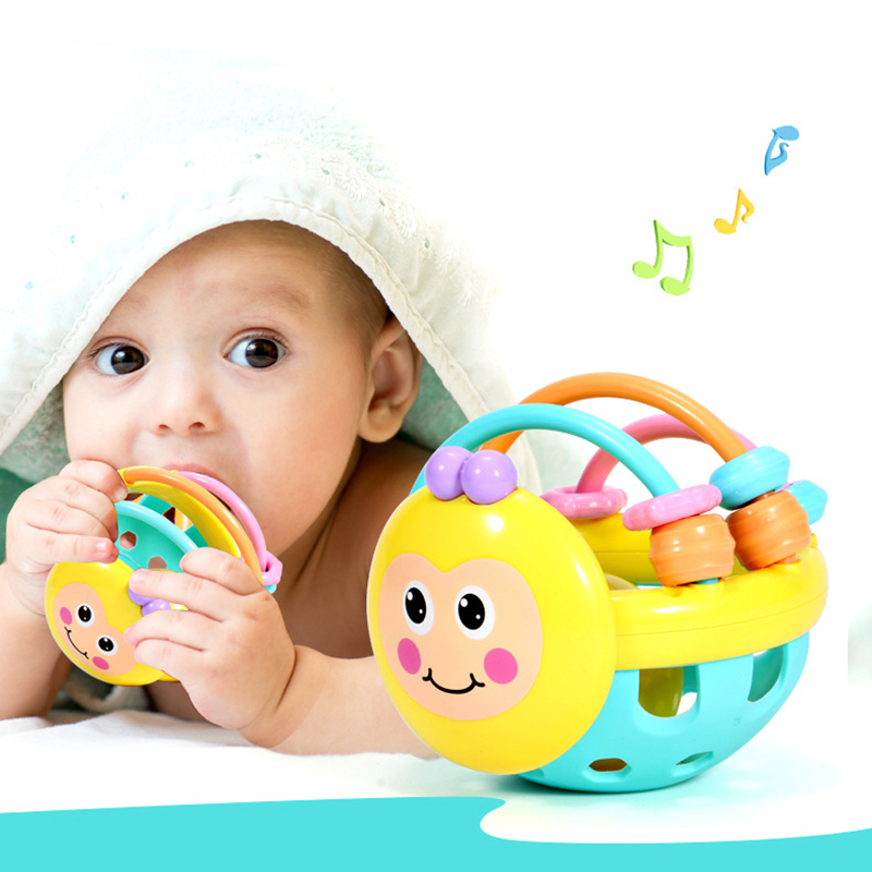 1PC Mobile Rattle Food Grade Silicone Chewable Newborn Baby Products For 0-12 Months Cartoon Soft Rubber Handle Ball Baby Toys