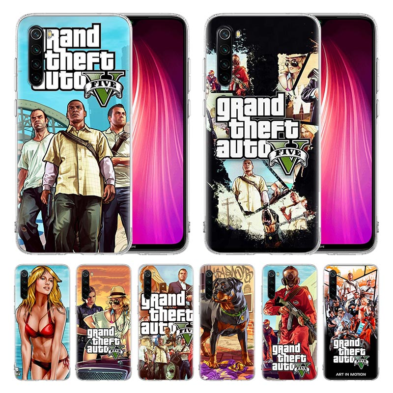 Case For Xiaomi Redmi Mi Note 9 9S 8 8T 7 6 Pro Max K20 K30 Zoom 5G 6A 7A 8A 7S Cover Coque Rockstar Gta 5 Grand Theft Newly