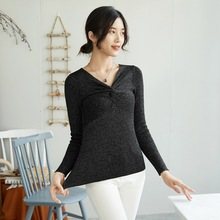 Fashion Autumn Winter casual Basic Sweater Women v-neck Bright silk Knit Slim Pullover Long Sleeve button Sweater black white цена