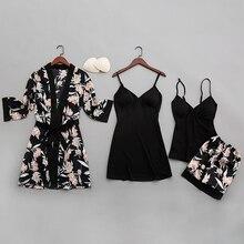 QWEEKเซ็กซี่ผู้หญิงชุดนอนผ้าไหม2020พิมพ์Pijamasชุดนอน4ชิ้นสายสปาเก็ตตี้ชุดนอนซาตินกับแผ่นอก