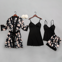 QWEEK Sexy Women Pajamas Silk 2020 Print Women pijamas Sleepwear Four piece Spaghetti Strap Satin Pyjamas with Chest Pads