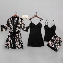 QWEEK seksi kadın pijama ipek 2020 baskı kadın pijama pijama dört parçalı spagetti kayışı saten pijama göğüs yastıkları ile