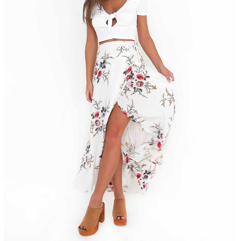Cross Border For Separate Station Europe And America Hot Selling Printed High Slit Holiday Beach Skirt PA9N003E