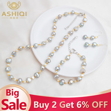 ASHIQI Natural Baroque pearl Jewelry Sets Real Freshwater Pearl Necklace Bracelet 925 Sterling Silver Earrings Women New Arrival new arrival 100% real silver bracelet man breacelets buddhism 20cm