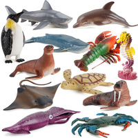 Ocean Animal Action Toy Figures Simulated Sea Life Model Sets Shark Dolphin Penguin Seahorse Model Toys Kids Collection Gift