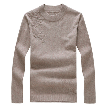 2019 autumn and winter thickening to increase the main push big goods imitation cashmere sweater  solid color mens sweaters