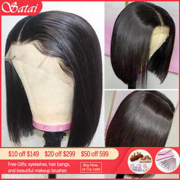 Satai Short Bob Wig Lace Front Human Hair Wigs With Pre Plucked Hairline 13x4/13x6 Lace Front Wig M Remy Brazilian Hair - DISCOUNT ITEM  51% OFF All Category