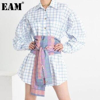 [EAM] Women Blue Plaid Split Long Big Size Blouse New Lapel Long Sleeve Loose Fit Shirt Fashion Tide Spring Autumn 2020 1X79205