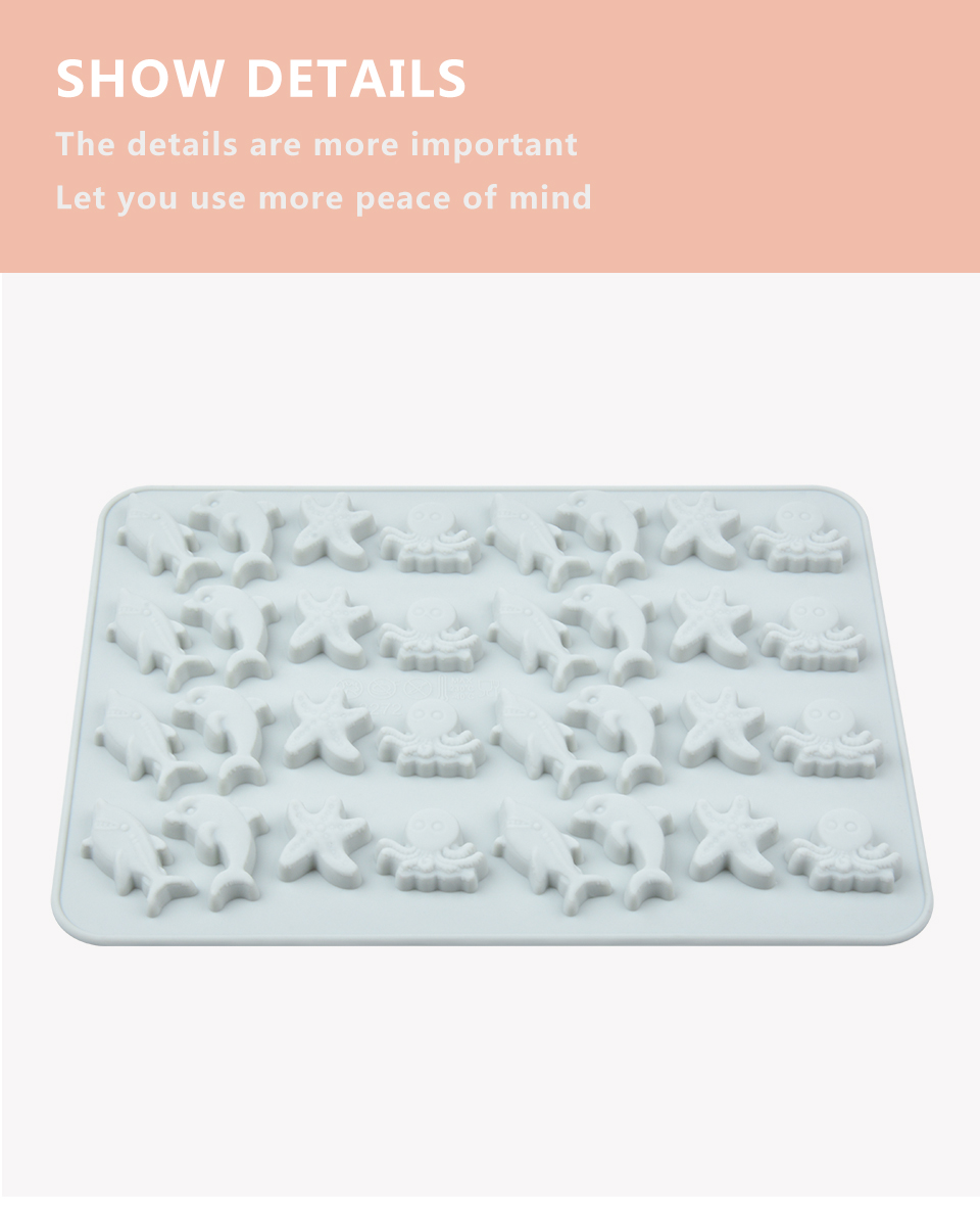 8SILIKOLOVE Fondant Cake Decorating Tools 3D Silicone Mold Miniature Ocean Candy Mold Whale Starfish Octopus Chocolate mould