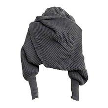 Сохраняющий тепло вязаный шерстяной длинный рукав обертывание однотонный платок обертывание Printe одноцветные шали шарфы для женщин простой женский шарф зима