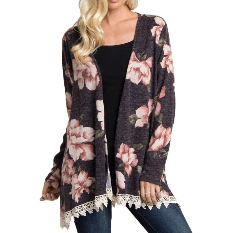 2 Color 5 Size Print Ladies Tunic Tops Knitted Cardigan Blusas Women Tops And Blouses 2018 Casual Loose Lace Blouse Shirt