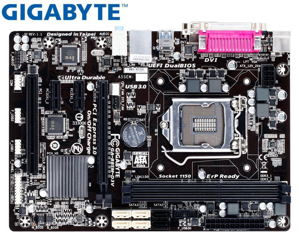 Gigabyte LGA Desktop Motherboard USB3.0 DDR3 B85 Used GA-B85M-D3V 1150 SATA3 16GB PC title=