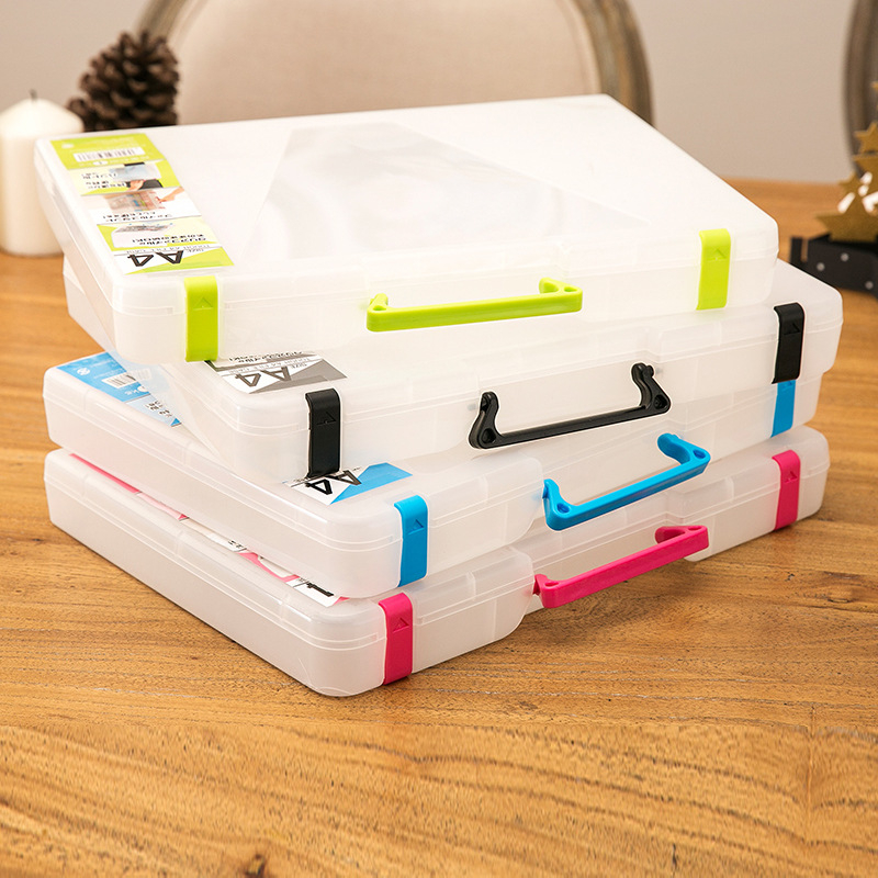 Creative Multi-function Transparent A4 File Box Portable Plastic Large Capacity Document Stationery Storage Single Layer Binder