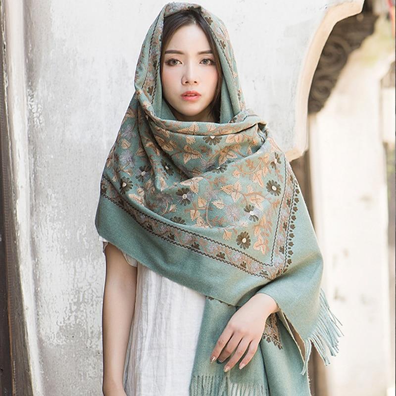 Cashmere Head Scarves Women Elegant Lady Carf And Warm Shawl Long Floral Embroidery Stoles Bandana Scarf Hijab Beach Blanket