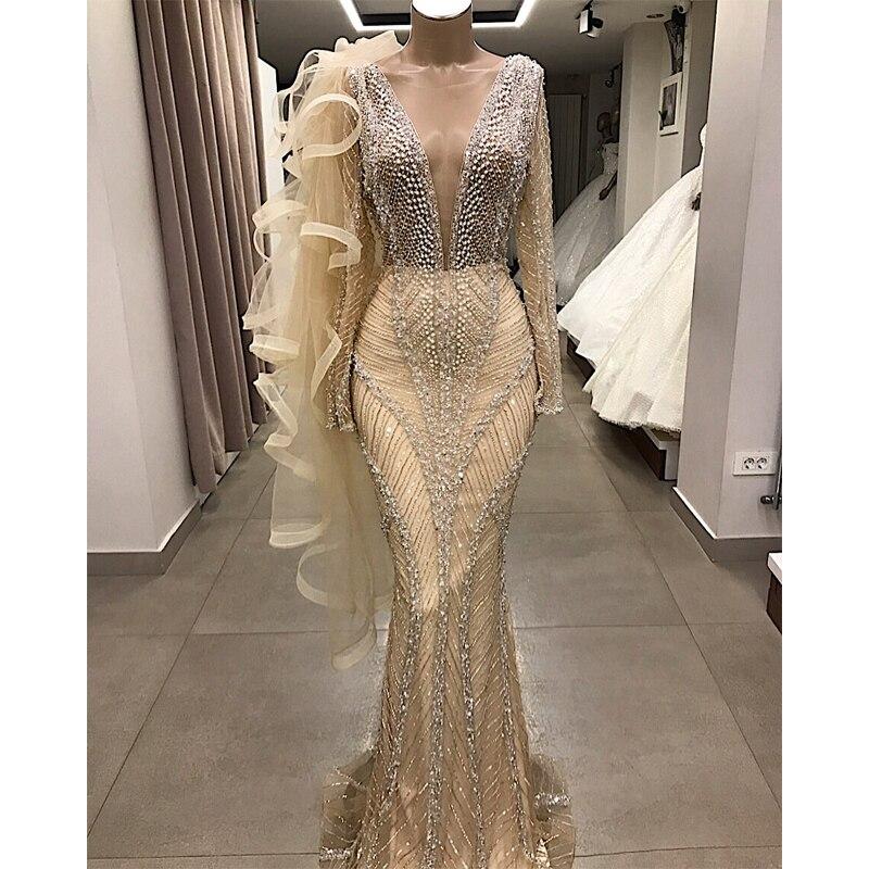 2019 Deep V-Neck Long Evening Dress Luxury Customized Beading Tulle Long Sleeve Mermaid Party Long Dress Formal Robe De Soiree